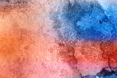 Technical drawing background in watercolor abstract background