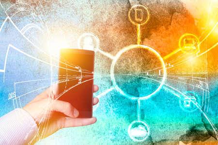 Neobank Business fintech web financial concept. Finance technology banking internet computing