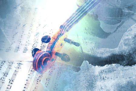 Old violin lying on the sheet of music, abstract watercolor music concept