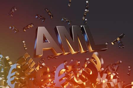 Anti Money Laundering Concept image of Business Acronym AML (Anti Money Laundering), 3D rendering