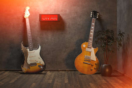 Electric guitar in the empty room concept. 3D rendering Imagens