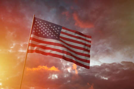 Flag of United States of America  flying in the wind with flag pole, cloudy day, 3D rendering