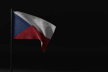 Flag of the Czech Republic flying in the wind with flag pole, isolated in bakcground, 3D rendering Stock fotó