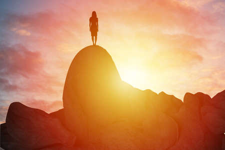 Successfully achieving your goal, Silhouette on the mountain. Success Business Leadership, Winner on top. Business Sport and active life style concept 版權商用圖片