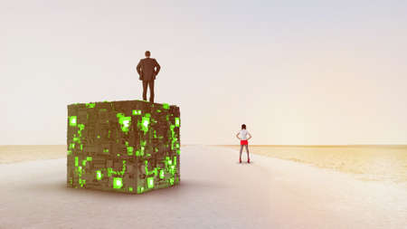 Businessman and woman standing. Shine square. Light geometry. Smart code. Energy effect. Big data. Digital chip. Glare grid lines. Glow cubes. CPU core. Hi Tech. Mobile innovation. SSD Board