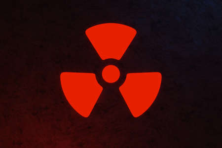 Nuclear energy radioactive (ionizing atomic radiation) round symbol shape painted on massive metal wall texture dark background. Nuclear radiation or radioactive alert warning danger. 3D rendering