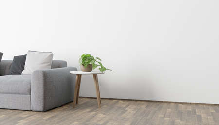Modern eco-style interior with a space for poster, plant and a wooden floor. Front view. 3d rendering