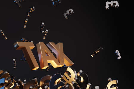Money signs with acronym 'TAX' - 'Value Added Tax,  studio background. Business concept with copy space. Stock Photo