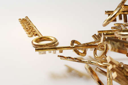 Strategy idea concept business. Golden keys with success sign. 3D rendering Stock Photo