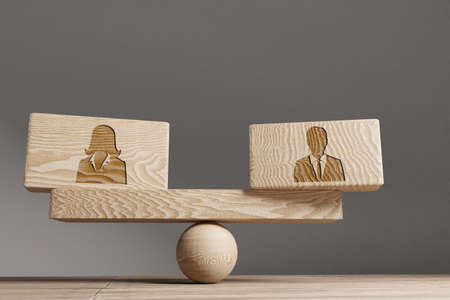 Man and woman Supply and demand balance concept. Wooden cube block with words Man and woman on seesaw. Life style concept