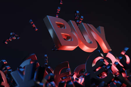 Money with acronym 'BUY', studio background. Business concept with copy space.