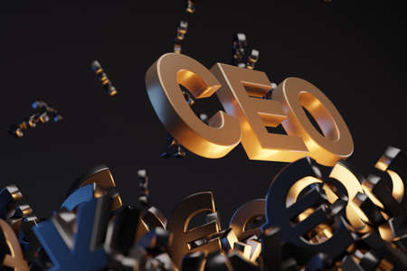 Money with acronym 'CEO' - 'Chief Executive Officer', studio background. Business concept with copy space.