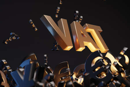 Money signs with acronym 'VAT' - 'Value Added Tax,  studio background. Business concept with copy space.