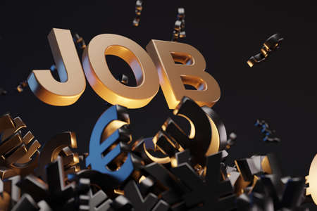 Money sign with acronym 'JOB', studio background. Business concept with copy space.