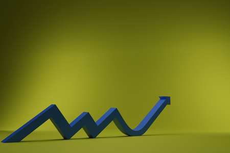 3D growth chart arrow with studio background. concept for business leadership success with strategic planning and management idea. 3D rendering