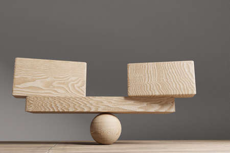 Balance concept. Wooden cube block with blank cubes on seesaw. Life style concept