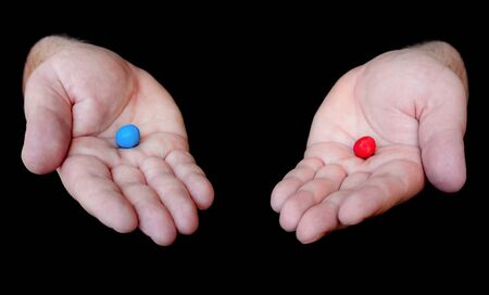 Red Pill Blue Pill Stock Photo