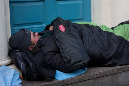 Dublin, Ireland - October 28, 2011 - Number of homeless people in Dublin growing because of economic crisis. Over 2,000 people are homeless in the Greater Dublin Area.