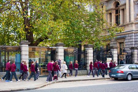 leinster: Dublin, Ireland - October 28, 2011 - School Children visiting Leinster House as part of their school trip program.
