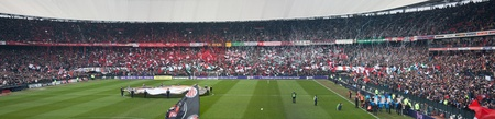 ajax: Rotterdam, The Netherlands - January 29, 2012 - Pre match ceremony in Stadion Feijenoord, aka De Kuip, prior to The Classic -  Feyenoord against their rivals Ajax. Feyenoord to win the match by 4-2 which was the first win over Ajax in 6 years.