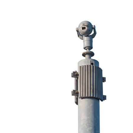 paranoia: 360 round view security camera on a sturdy pole isolated on white Stock Photo