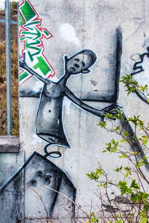 Graffiti on Abandoned Generator House for Hospital