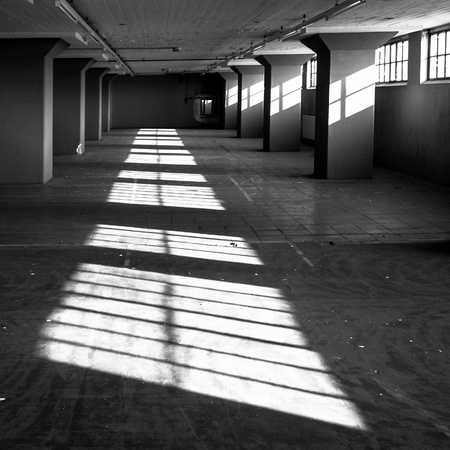 light columns: Light and shadow in an abandoned building