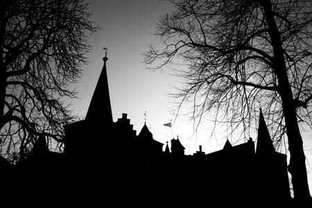 Castle Silhouette of the Castle in Helmond Netherlands photo
