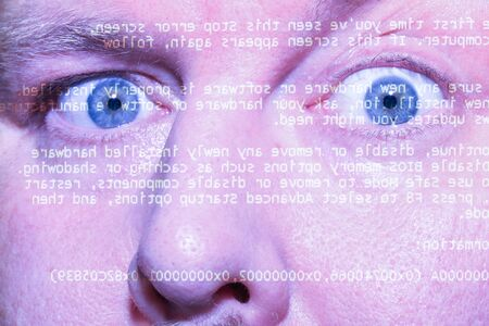 Computer screen reflection on a man face Stock Photo - 13483471