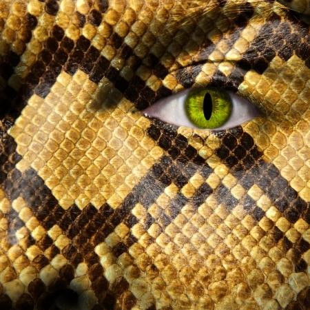 transform: A man morpred into a snake like creature Stock Photo