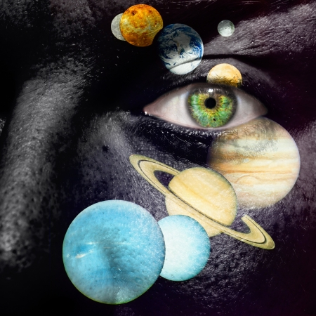9 planet system painted on a face