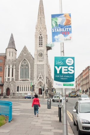 whether: DUBLIN - MAY 20: MAY 25:  Roadside election campaign placards endorsing the YES vote on May 20, 2012 in Dublin. On 31 May 2012, the Irish people will vote in a referendum on whether to ratify the Stability Treaty.