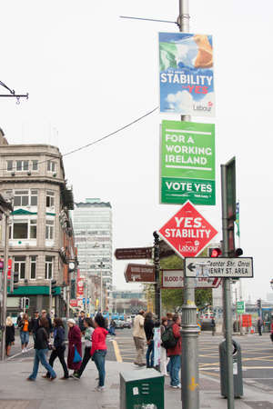 whether: DUBLIN - MAY 20: MAY 25:  Roadside election campaign placards endorsing the NO vote on May 20, 2012 in Dublin. On 31 May 2012, the Irish people will vote in a referendum on whether to ratify the Stability Treaty.