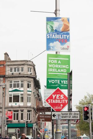 DUBLIN - MAY 20: MAY 25:  Roadside election campaign placards endorsing the YES and NO vote on May 20, 2012 in Dublin. On 31 May 2012, the Irish people will vote in a referendum on whether to ratify the Stability Treaty. Stock Photo - 13744491
