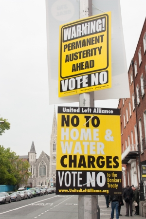 endorsing: DUBLIN - MAY 20: MAY 25:  Roadside election campaign placards endorsing the NO vote on May 20, 2012 in Dublin. On 31 May 2012, the Irish people will vote in a referendum on whether to ratify the Stability Treaty.