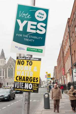 DUBLIN - MAY 20: MAY 25:  Roadside election campaign placards endorsing the YES and NO vote on May 20, 2012 in Dublin. On 31 May 2012, the Irish people will vote in a referendum on whether to ratify the Stability Treaty.