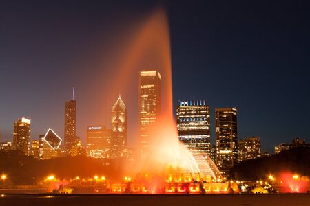 Clarence Buckingham Memorial Fountain in Chicago at night photo
