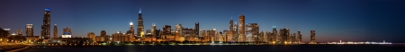 commercial dock: Chicago Skyline at Night including Navy Pier