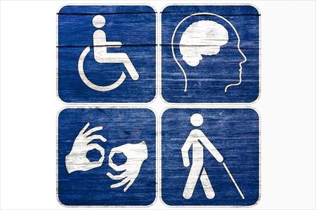 handicap: Quattro Grunge disabilitato simboli isolati su bianco Archivio Fotografico
