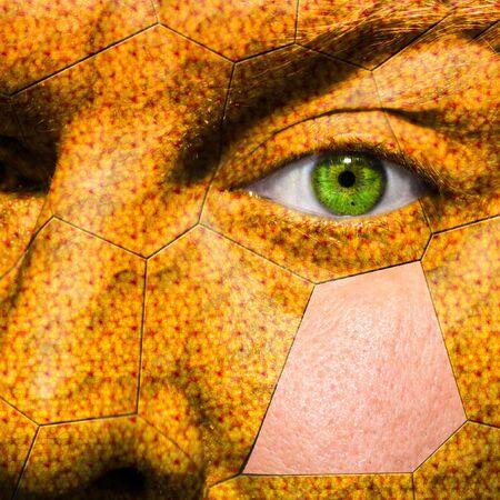 esquizofrenia: El hombre atrapado en el capullo, como shell para mostrar concepto de esquizofrenia