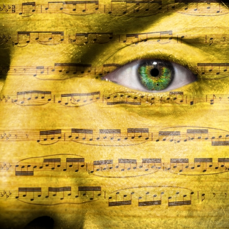 conductors: Face with eye showing music as in Beethoven s obsession with music