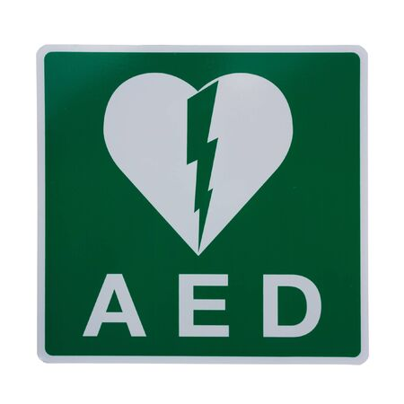 Isolation of an AED Sticker Stock Photo