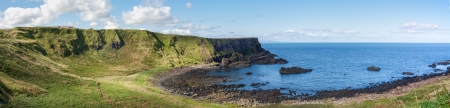 Panoramic view of the Portnaboe and camels back at the Giants Causeway in Northern Ireland photo