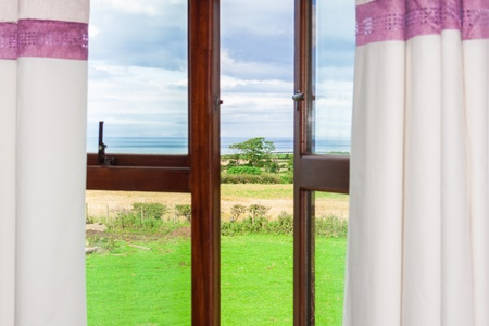 View of a single tree through an open window with curtains looking from the inside out with a backdrop of the atlantic ocean photo