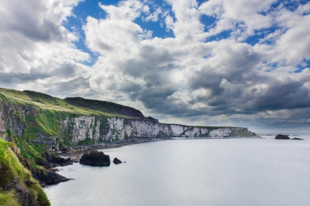 The White Cliffs of Carrick A Rede in Northern Ireland near Ballintoy and Carrick-a-Rede Rope Bridge Stock Photo - 14950772