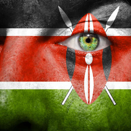 blood sport: Flag painted on face with green eye to show Kenya support