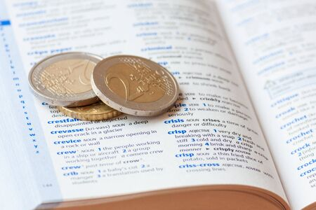noun: Two euro coins lying on a dictionary page next to the word crisis