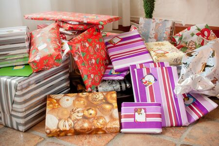 Lots of colorful gifts as seen in the Netherlands for christmas Stock Photo - 15502587