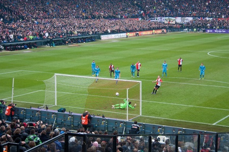 ajax: ROTTERDAM - JANUARY 29: John Guidetti scores a penalty kick against Ajax to level 1-1 on January 29, 2012 in Rotterdam. Feyenoord wins the match by 4-2 which is the first win over Ajax in 6 years