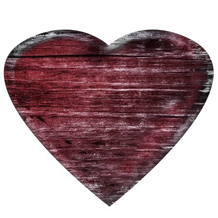 sear: 3D burned wooden heart isolated on white Stock Photo